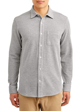 George Mens Long Sleeve Knit Button Down Shirt up to 2XL