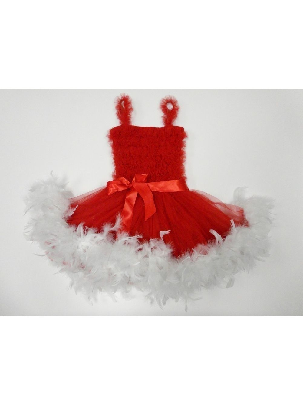 Red White Ruffle Feather Tutu Ballet Dress Girls S