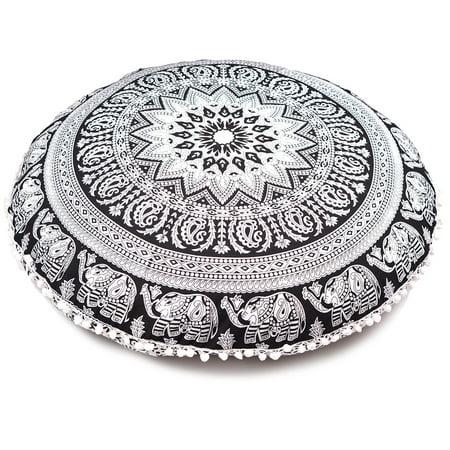 Decorator Floor Pillow (Oussum Cotton Hippie Mandala Round Floor Pillow Cover 32 Inchs, Black)
