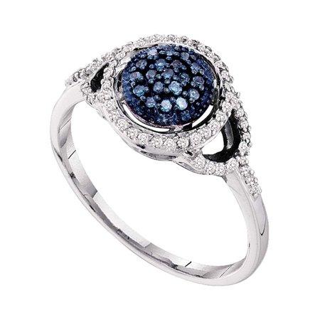 10kt White Gold Womens Round Blue Color Enhanced Diamond Framed Cluster Ring 1/4 Cttw - image 1 de 1