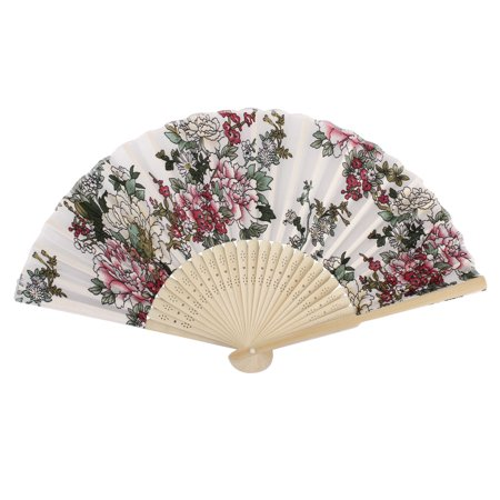 Womens Pennies - Women Wedding Decor Peony Pattern Bamboo Ribs Foldable Craft Hand Fan Colorful