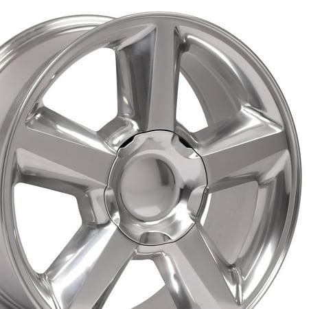 22 Inch Fit Chevy Silverado Tahoe GMC Sierra Yukon Cadillac Escalade | CV83 Polished 22x9 Rims Hollander 5308 SET