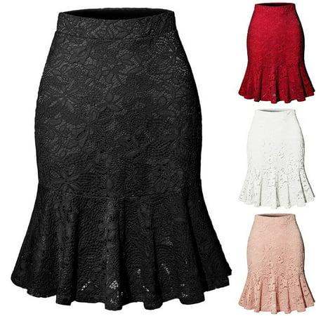Women Skirts Mermaid Skirt Elastic Waist Slim Lace Tight Skirt Fishtail Skirt ()