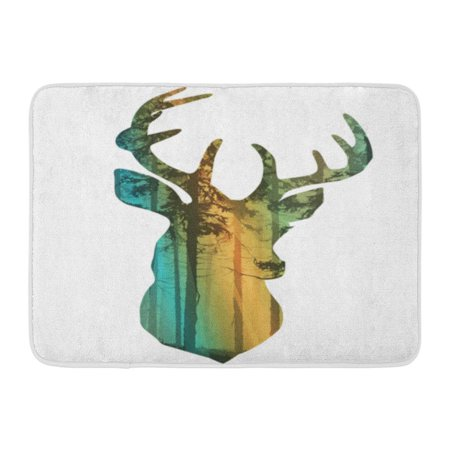 GODPOK Silhouette of Deer's Head Inside The Pine Forest with Rays Light Muzzle Deer from Branches Bright Colored Rug Doormat Bath Mat 23.6x15.7 inch
