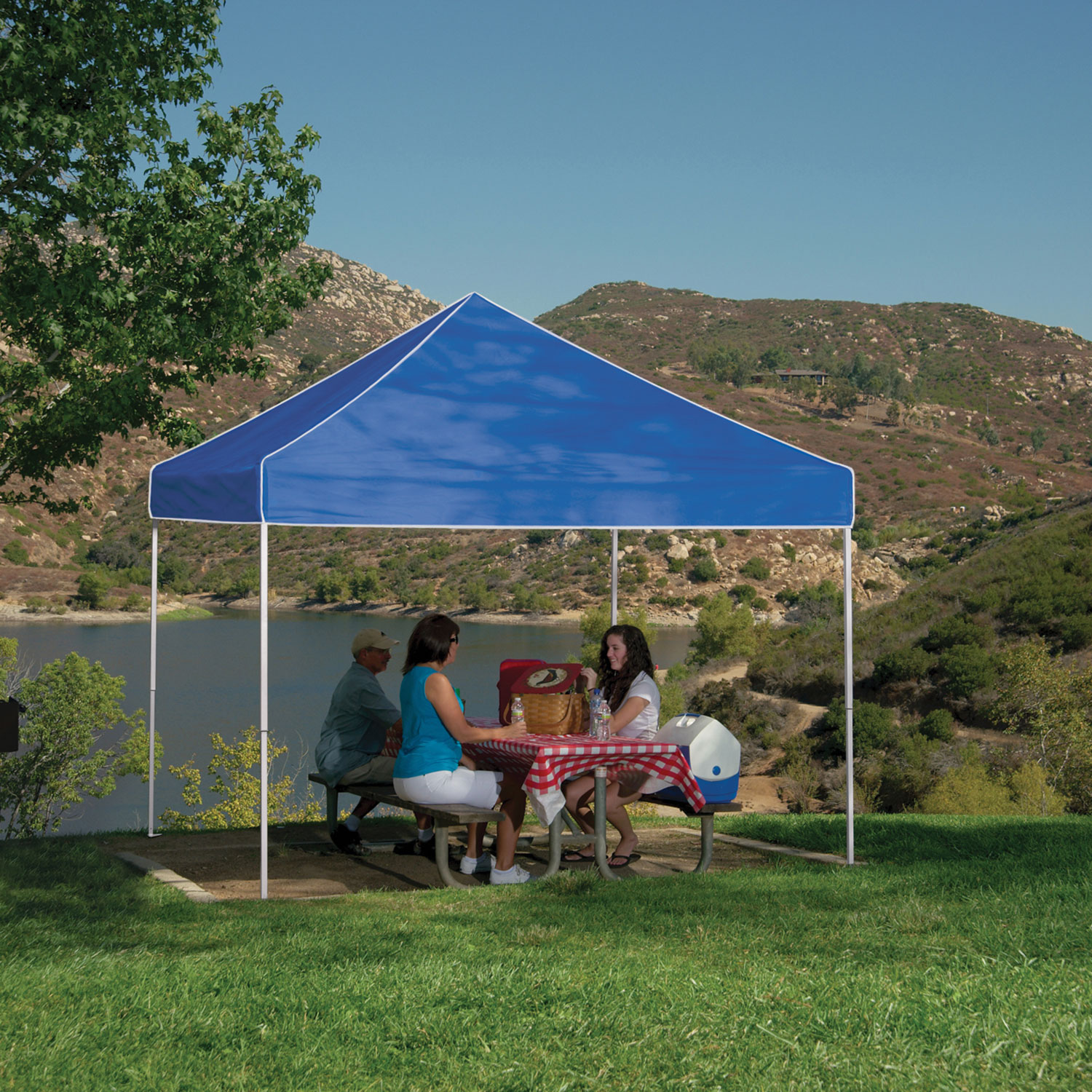 Z-Shade 10 x 10 Foot Everest Instant Canopy Outdoor Camping Patio Shelter,  Blue