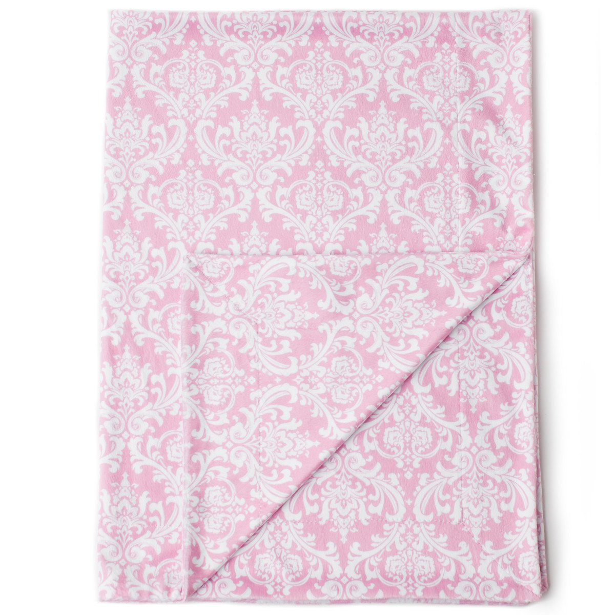 """Kids N' Such Minky Baby Blanket 30"""" x 40"""" - Pink Damask - Soft Swaddle Blanket for Newborns and Toddlers - Best for Boys or Girls Crib Bedding, Nursery, and Security - Plush Double Layer Fleece Fabric"""