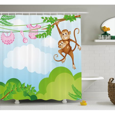 Nursery Shower Curtain Monkey Swinging With The Kid Baby Clothes Chimpanzee Jungle Joy Togetherness