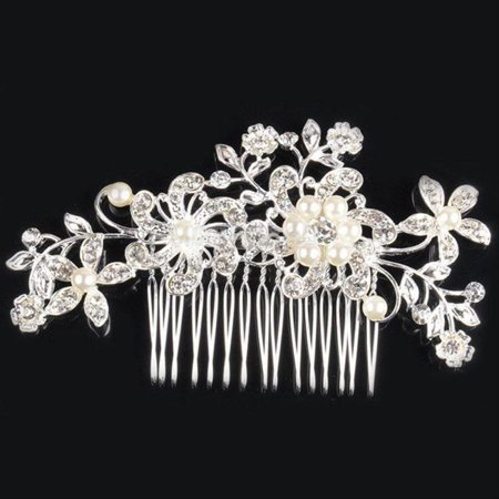 Diamante Bridal Wedding Crystal Jewel Hair Comb Hair Piece Clip Slide Fascinator (Peacock Fascinator)