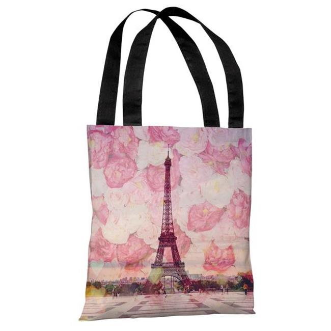 One Bella Casa 73710TT18P 18 in La Tour Eiffel Polyester Tote Bag44; Pink
