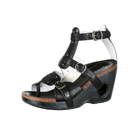 4EurSole Casual Shoes Womens Set Free Wedge Sandal Black RKH091