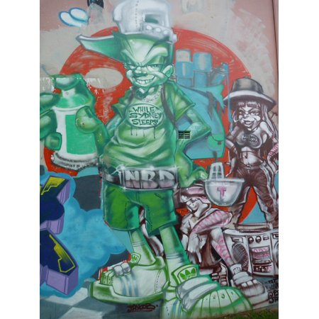 Canvas Print Street Art Colorful Cool Graffiti Stretched Canvas 32 x 24 ()