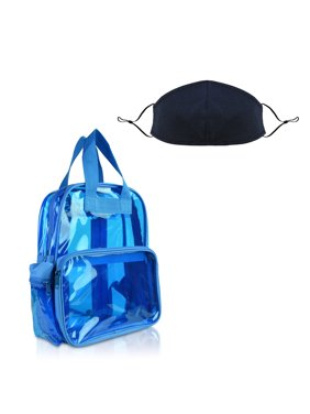 DALIX Back to School Clear Backpack with Premium Cotton Face Mask in Neon Blue