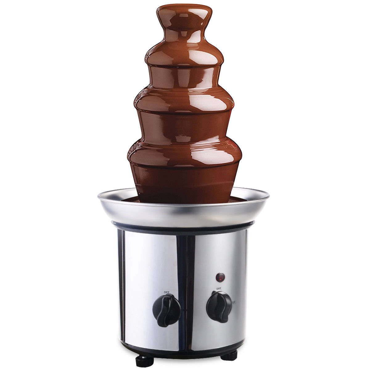 Gymax 4 Tiers Hot Luxury Chocolate Fondue Fountain Commercial Stainless Steel by Gymax