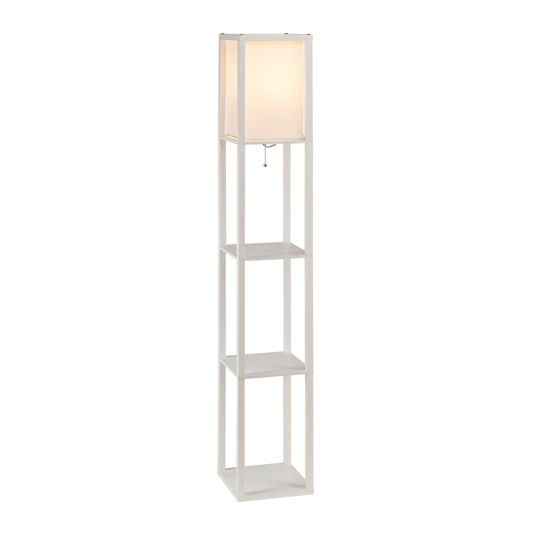 Accent Light Wooden Floor Lamp With Storage, Fabric Shade ...