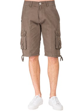 Level 7 men's Relaxed Fit Midrise Fatigue Brown Premium Canvas Utility Shorts Cargo Pockets