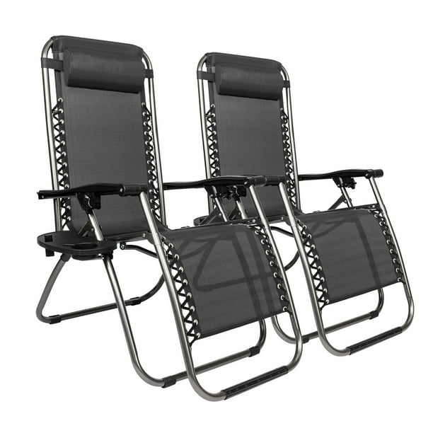 Ktaxon 2pcs Folding Zero Gravity Reclining Lounge Chairs Outdoor Beach Patio Yard Black Walmart Com Walmart Com