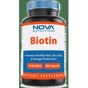 Nova Nutritions Biotin 10,000 mcg 200 Capsules