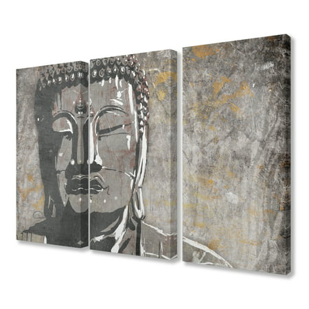 The Stupell Home Decor Painterly Tan and Grey Buddha Triptych Canvas Wall Art, 3pc, each 16 x 24 ()