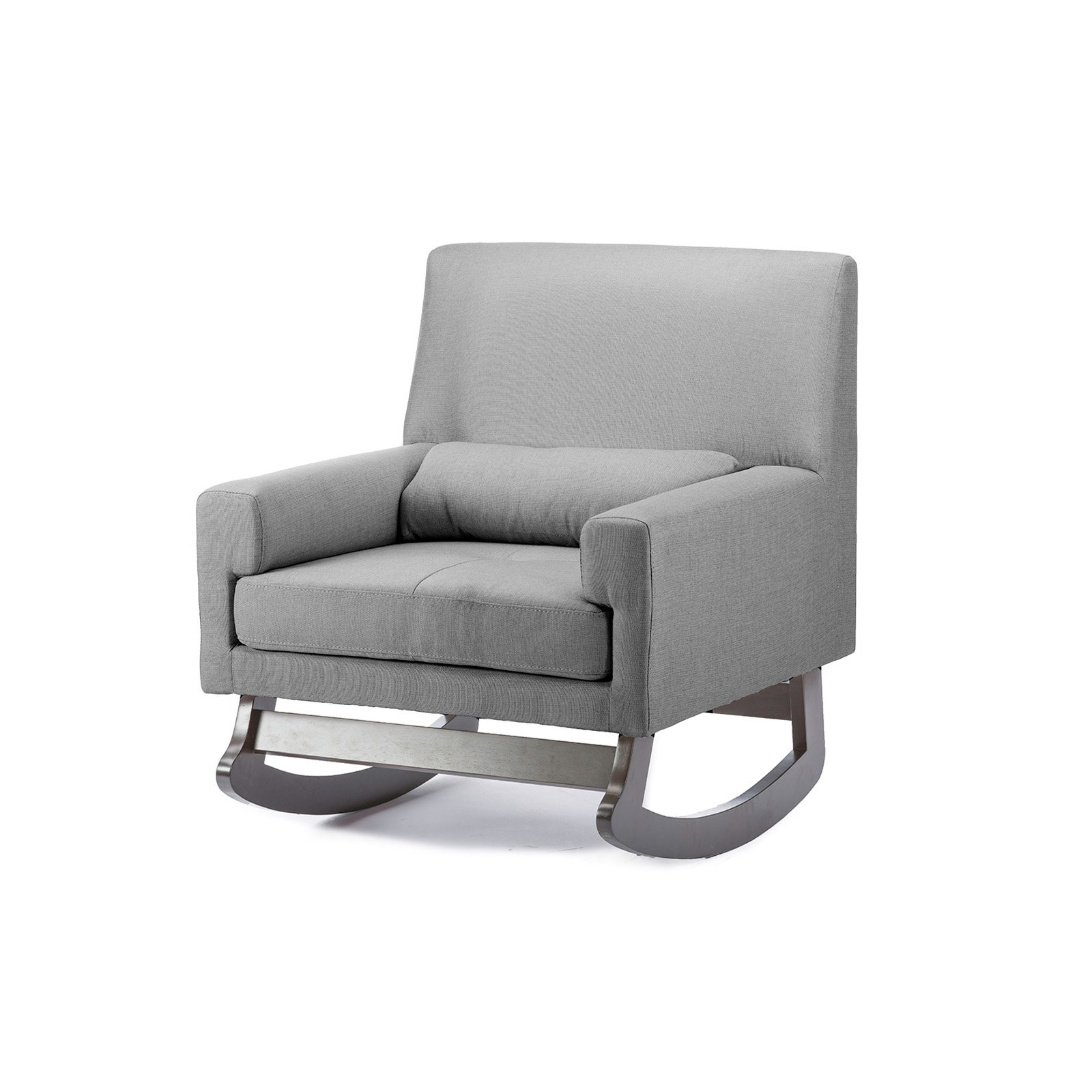 Imperium Gray Linen Contemporary Rocking Chair with Pillow by Baxton Studio