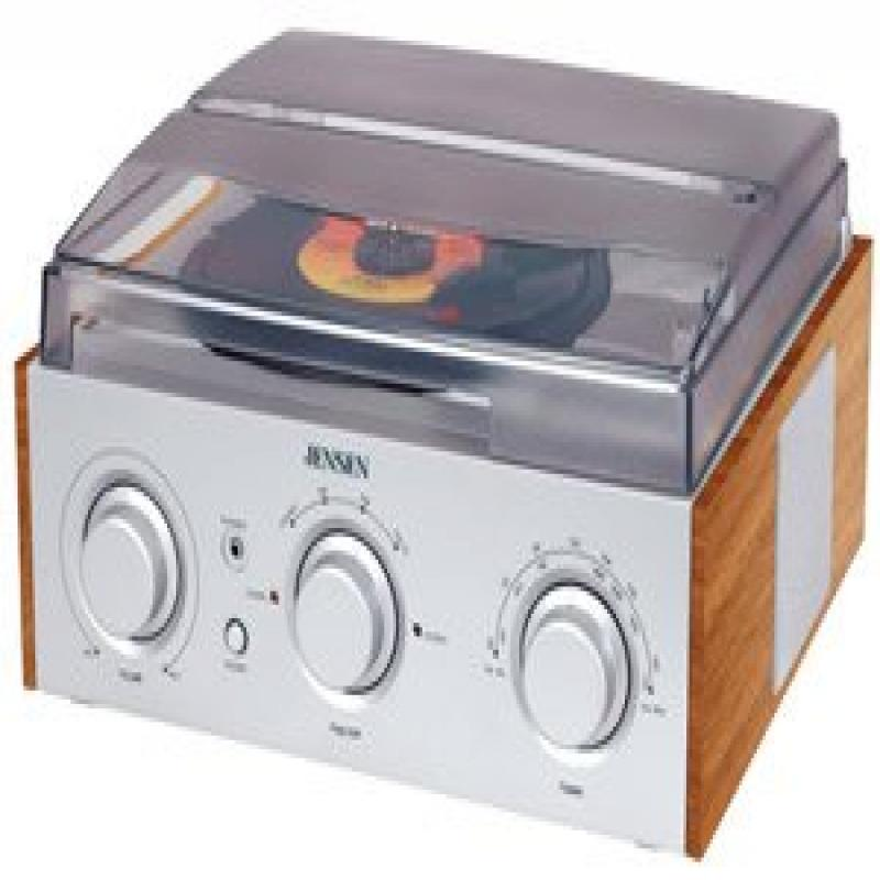 Jensen 3-Speed Stereo Turntable with AM FM Stereo Radio with 2 Built-In Speakers, External... by Jensen