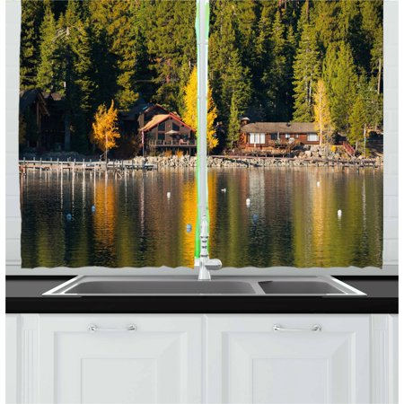 Lake Tahoe Curtains 2 Panels Set, Carnelian Bay Photography Log Cabin in the Woods Holiday Destination Lakeside, Window Drapes for Living Room Bedroom, 55W X 39L Inches, Multicolor, by