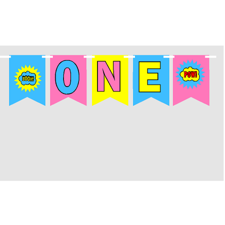 Baby First (1st) Birthday Girl's Superhero Party Theme Picture Backdrop/HIgh Chair/Wall Decoration