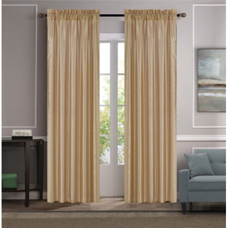 HOLLYWOOD GOLD 1pc Faux Linen Rod Pocket Window Curtain Panel 55x84 Inch