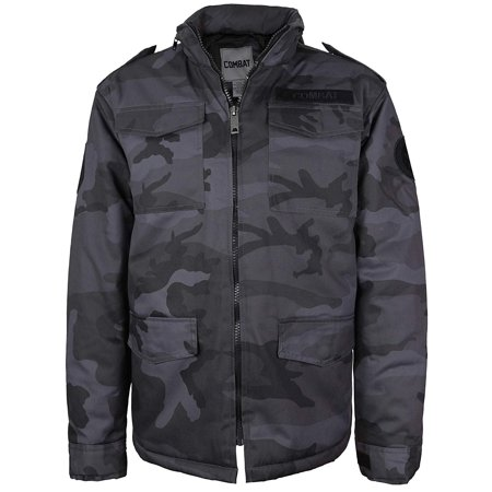 - Combat Men's Tactical Heavyweight Hooded Quilted Camo Hunting Jacket (Black Camo, M)