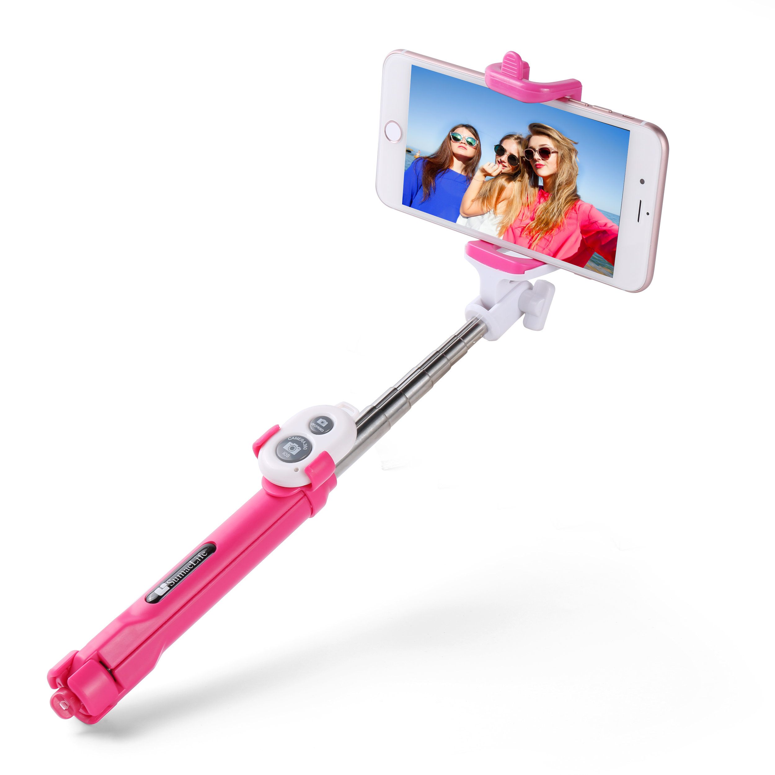 Compact Collapsible Universal Selfie Stick and Tripod with Removable Remote Control for iPhone X/8/7, Samsung S9/S8/S7, Google Pixel 2 and More