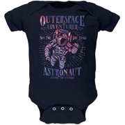 Outer Space Adventurer Astronaut Aim For The Stars Soft Baby One Piece Navy 9-12 M