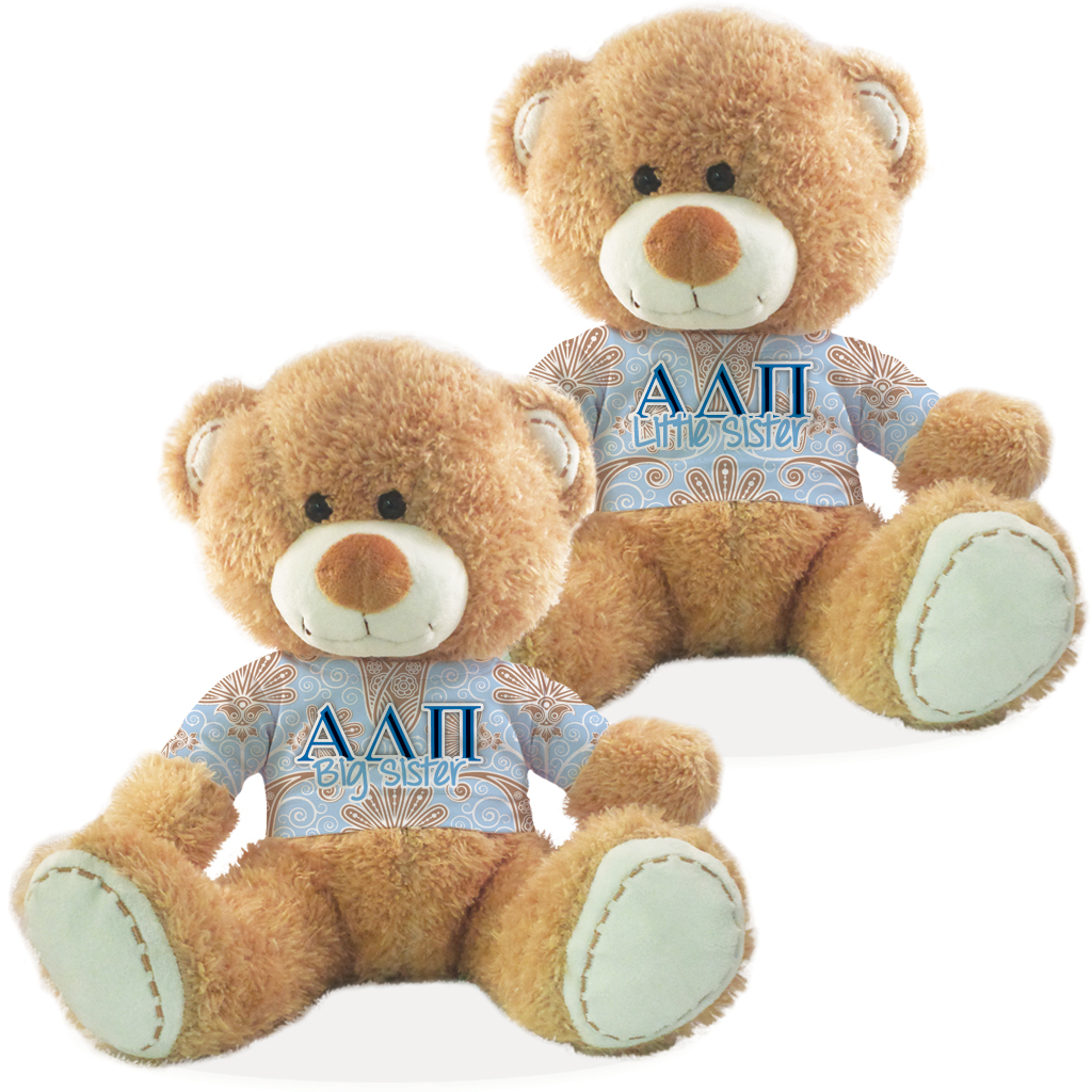 Alpha Delta Pi Big Sister and Little Sister Teddy Bear Gift Set of 2 by