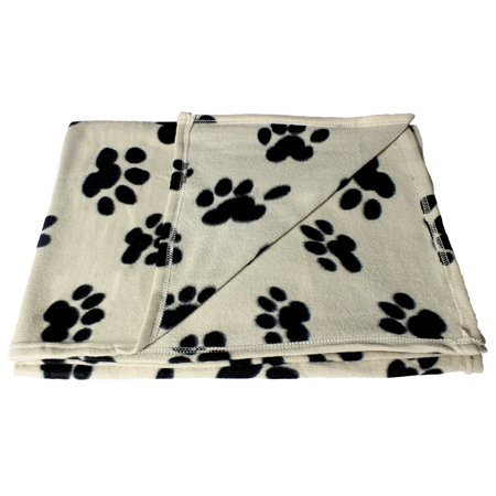 60 x 39 Inch Large Fleece Pet Blanket with Paw Print Pattern - Animal Supplies by bogo Brands - Cat Halloween Costume Pattern
