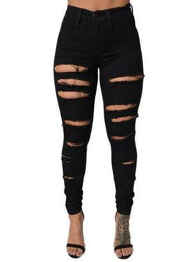 Women's High Waisted Skinny Jeans Butt Lift Distressed Denim Long Pants