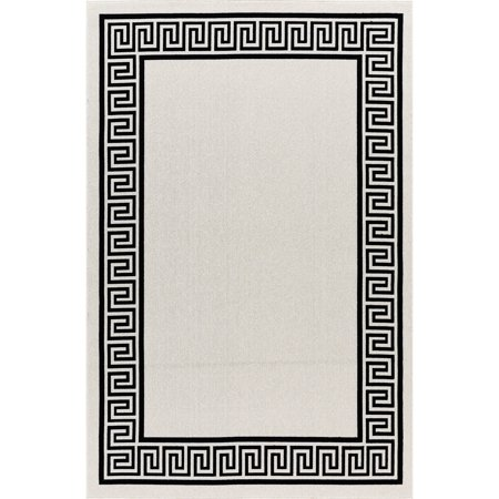 Capitola GAD Greek Key High Quality Indoor Outdoor Area Rug Beige Black 7'10