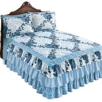"Navy Rose Floral Medallion Printed Tiered Ruffled Bedspread for Full Bed, 110"" x 94"""