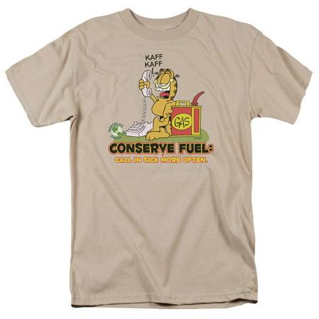 Garfield Conserve Fuel Gas Call In Sick Green Tip Adult T-Shirt - (Medium)