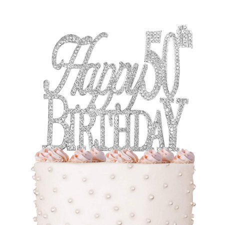 Happy 50th Birthday Cake Topper Crystal Rhinestones On Silver Metal Party Decorations Favors