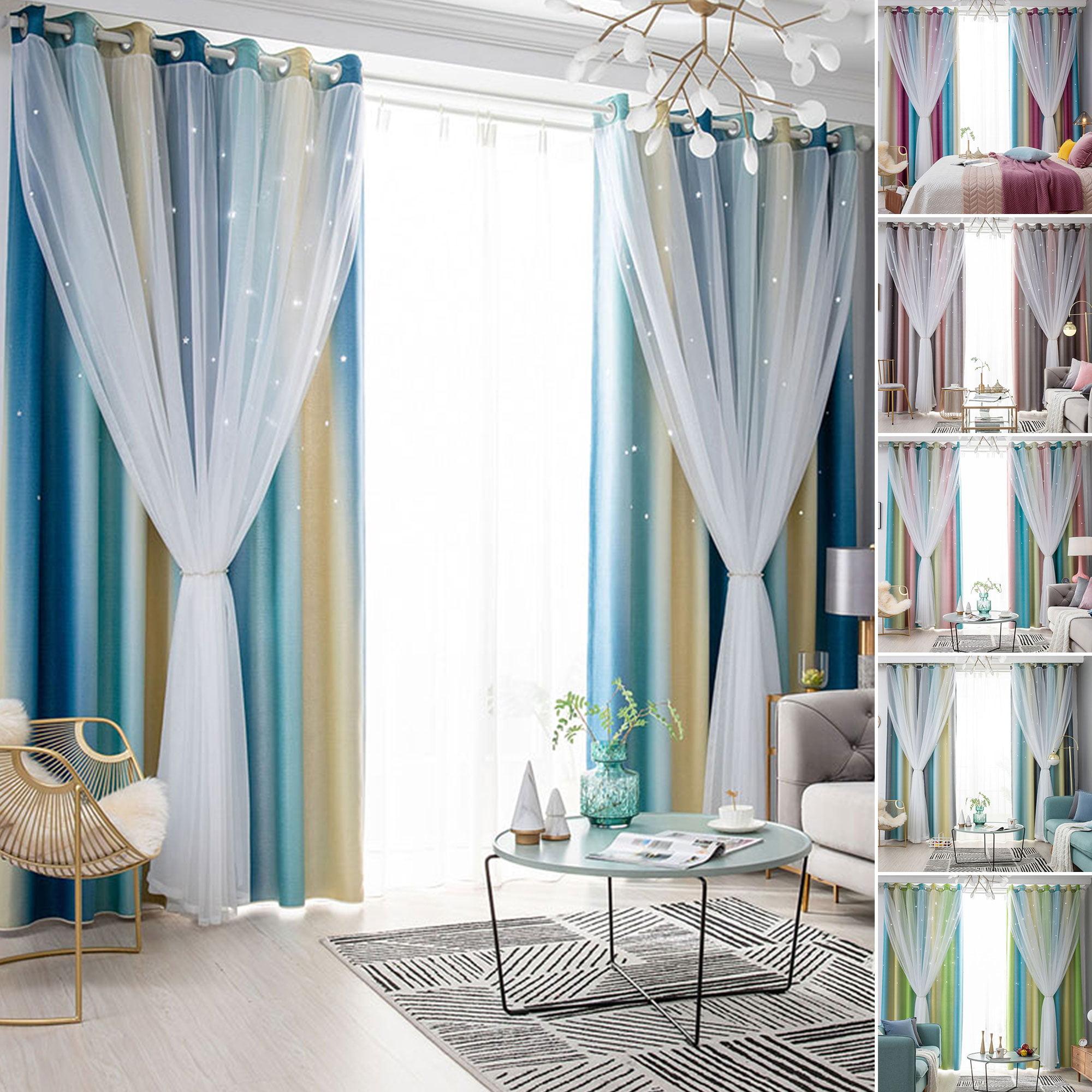 Starry Sky Blackout Sheer Curtains Girls Double Layer Home Floor Curtain Bedroom Walmart Com Walmart Com