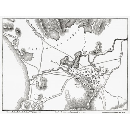 Plan of Ephesus the ancient Greek city and its environs the sites as named by Edward Falkener c 1842 From The Imperial Bible Dictionary published 1889 Canvas Art - Ken Welsh  Design Pics (16 x (City With No Vowels In Its Name)