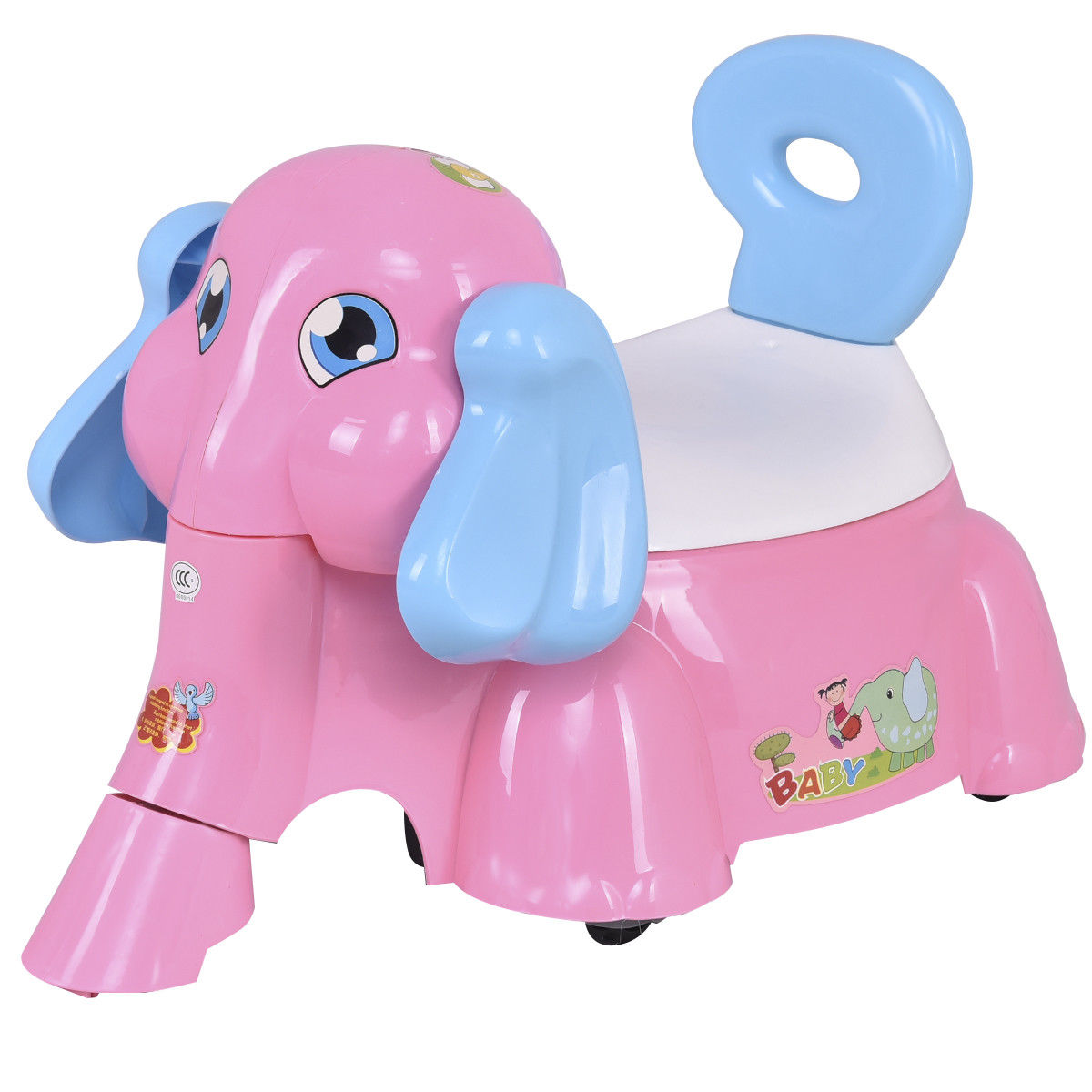 Gymax Kids Baby Potty Training Toilet Trainer Seat with Music Function Pink Elephant