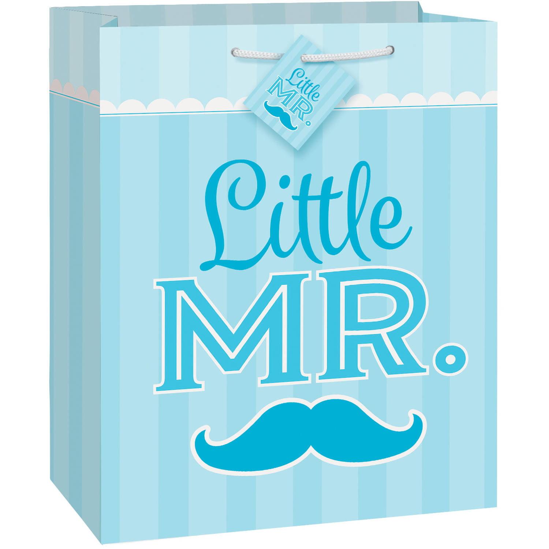 Blue Mustache Little Boy Gift Bag