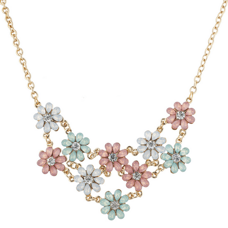 - Lux Accessories Gold Tone Opal Crystal Rhinestone Flower Statement Necklace
