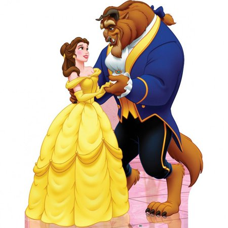 Large Belle And Beast  Cardboard Life Size Cutout Stand Disney Cutout Party Prop Decor Birthday party Supplies Disney Princess Bella Size: 66