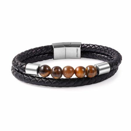 Yellow Tiger Eye Braided Genuine Leather & Stainless Steel Bracelet 8.50