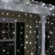 150 LED Curtain Lights Cool White Christmas Curtain Lights Indoor-Outdoor Window Curtain Lights