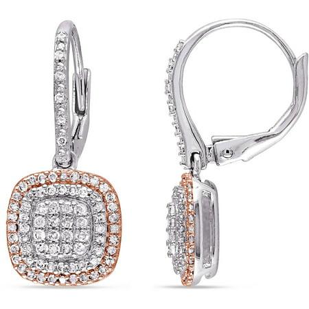 1/2 Carat T.W. Diamond Two-Tone Sterling Silver Halo Dangle Leverback Earrings Diamond Dangle Leverback Earrings