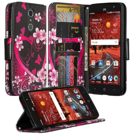 ZTE Grand X 4, ZTE Blade Spark Z971 Case, Wrist Strap Pu leather Magnetic Fold[Kickstand] Wallet Case with ID and Card Slots for Grand X4 - Heart Butterflies