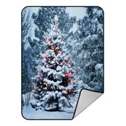 PHFZK Landscape Nature Scenery Blanket, Snow Covered Christmas Tree in Winter Fleece Blanket Crystal Velvet Front and Lambswool Sherpa Fleece Back Throw Blanket 58x80inches