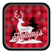 """Club Pack of 96 Winter Lodge """"Happy Holidays"""" Reindeer Square Party Dinner Paper Plates 9"""""""