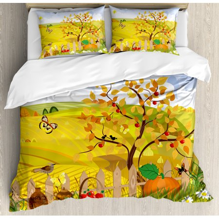 Fall Decorations King Size Duvet Cover Set  Rural Scene With Sun Butterflies Birds And Daisies On Field Kid Nursery Concept  Decorative 3 Piece Bedding Set With 2 Pillow Shams  Multi  By Ambesonne